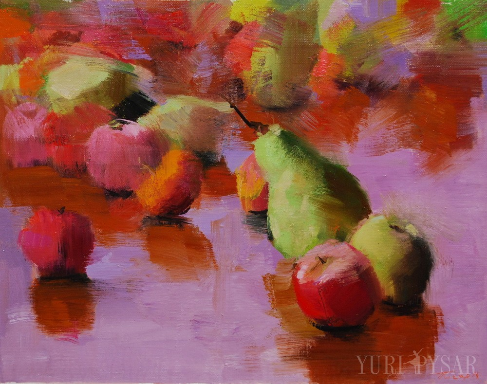 appes and pears painting on canvas