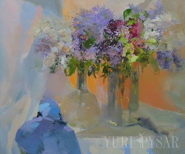 lilacs painting in oil on canvas