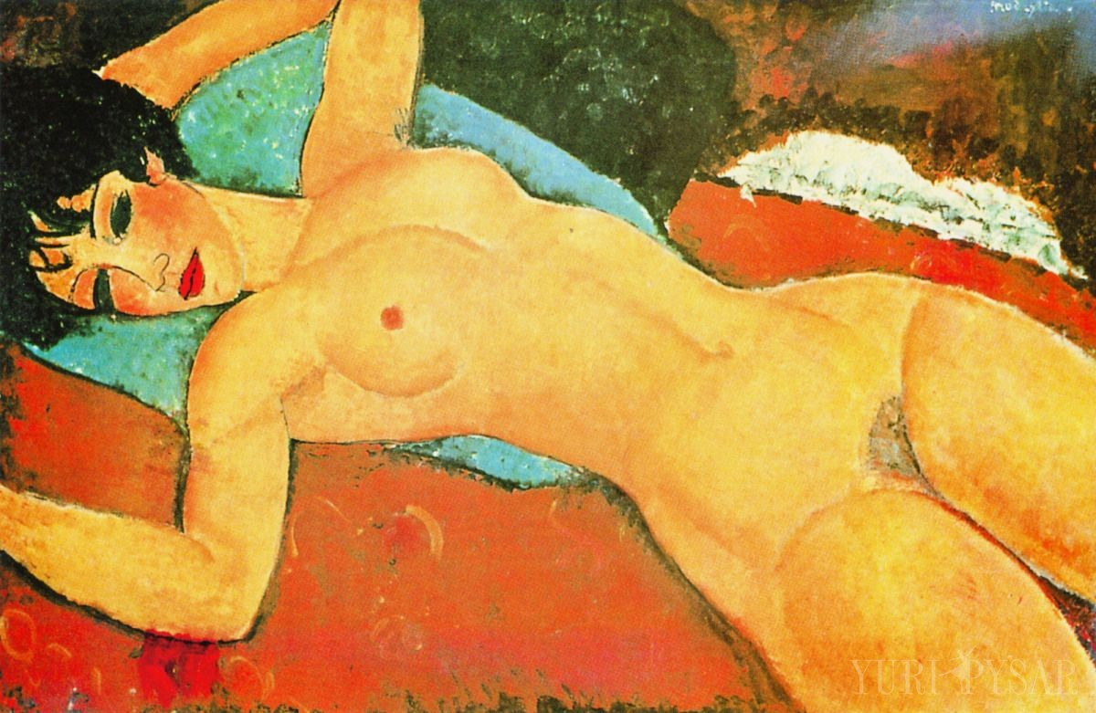 modigliani, reclining nude with his arms opened on a red cloth