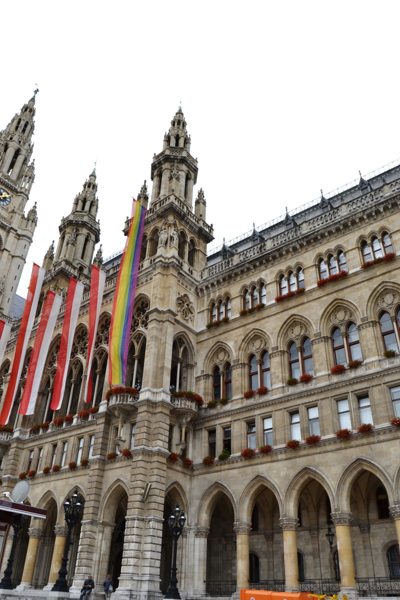vienna's city hall wih the pride flag