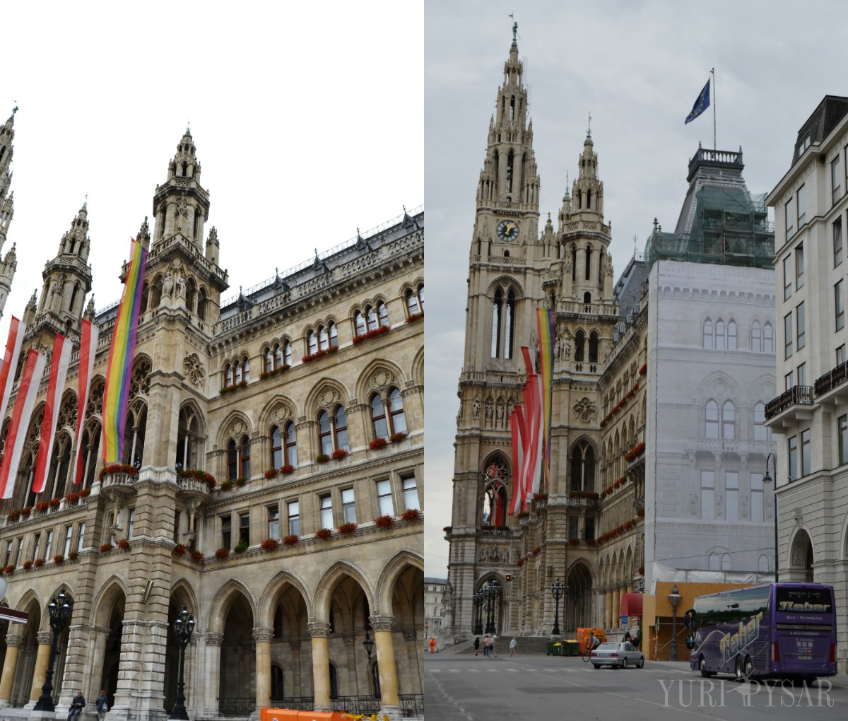 the city hall in vienna with the pride flag