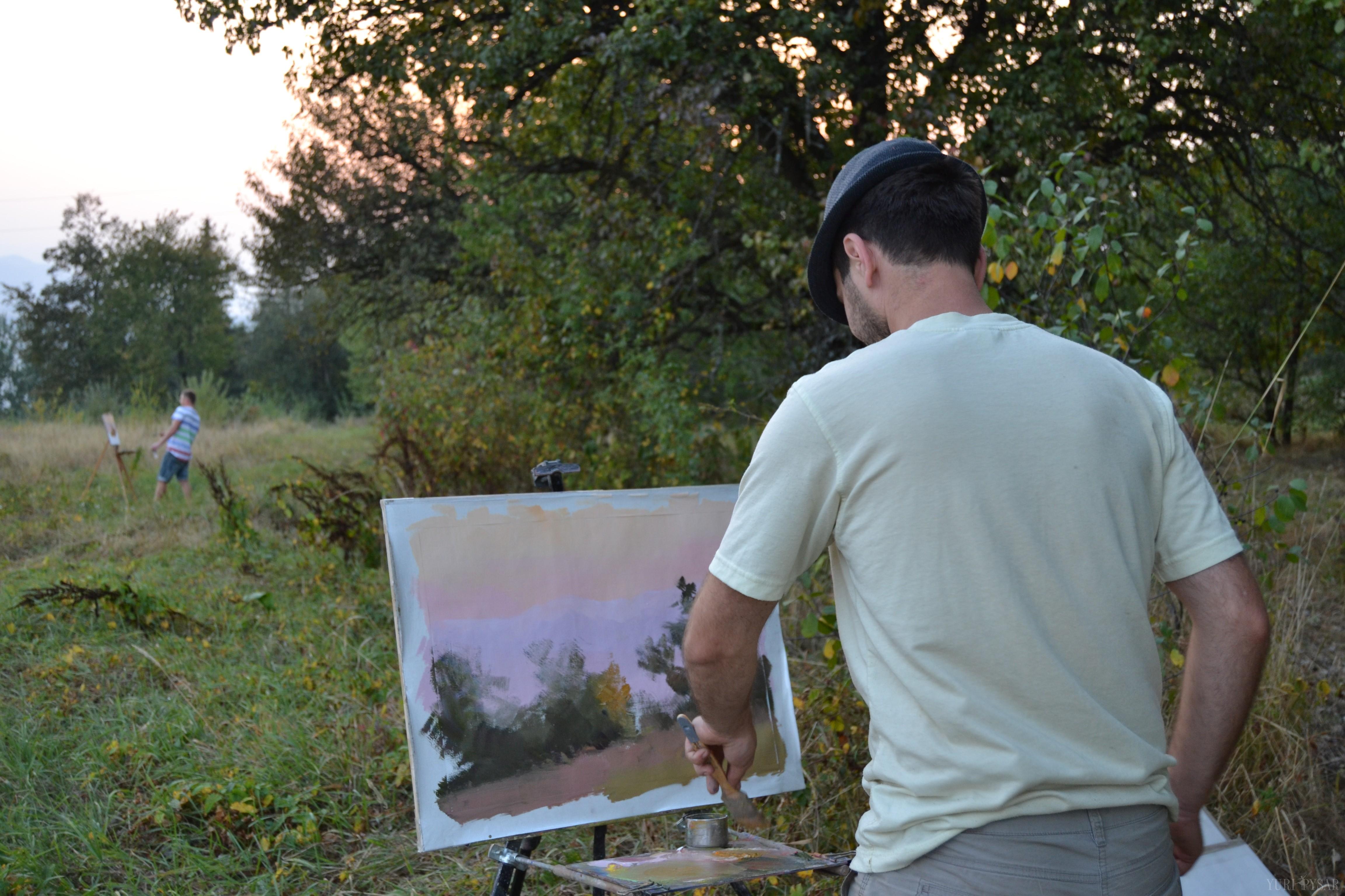 юрій писар на пленері, осінній пейзаж, картина
