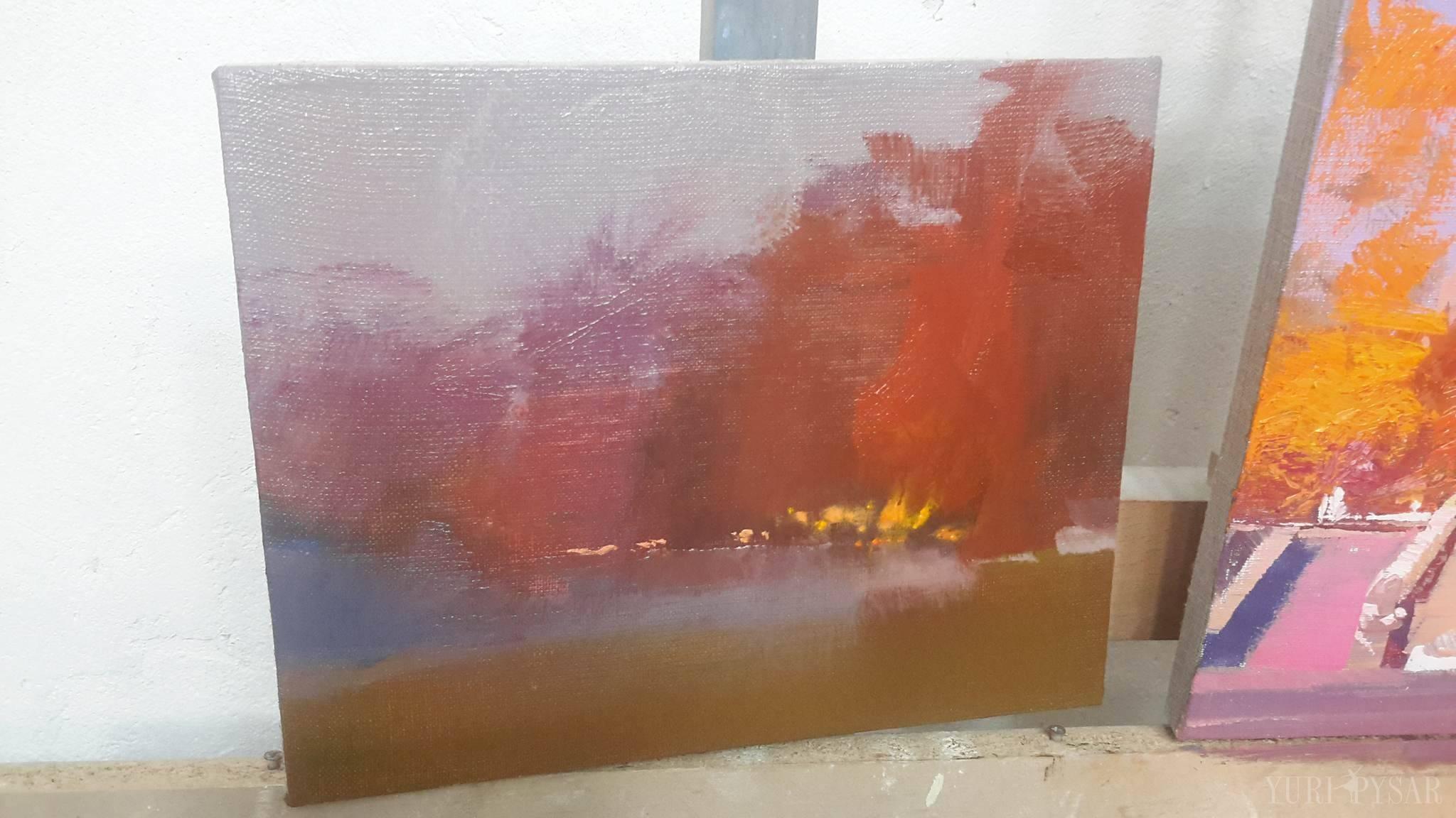 олійний живопис, картина абстрактна осінь