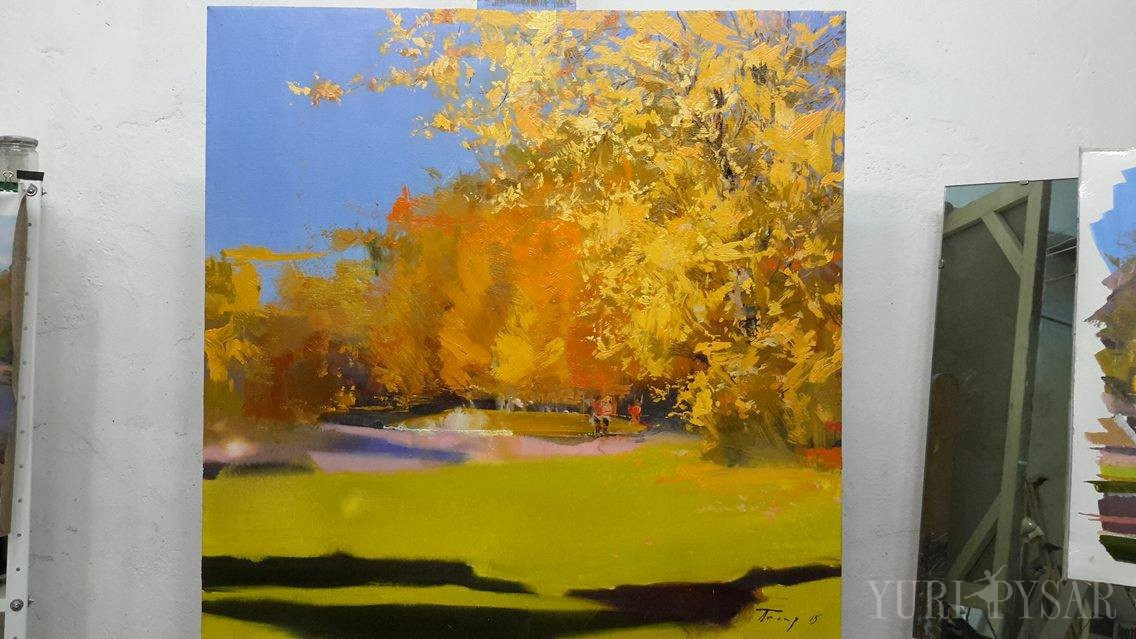 abstract landscape painting of beautiful autumn