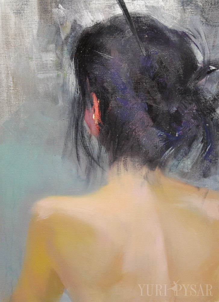nude painting woman standing with the back