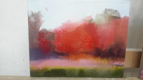 abstract landscape painting in oil of red autumn