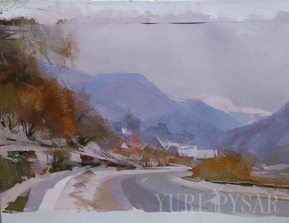 oil landscape artwork on canvas of a beautiful winter scene