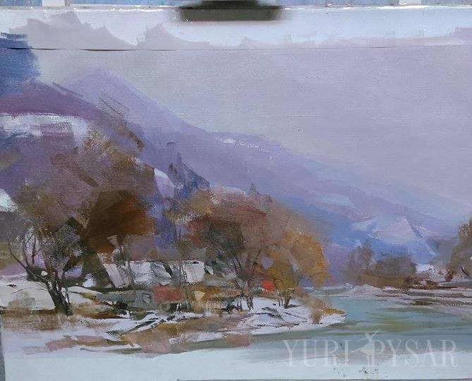 plein air painting of a winter landscape scene