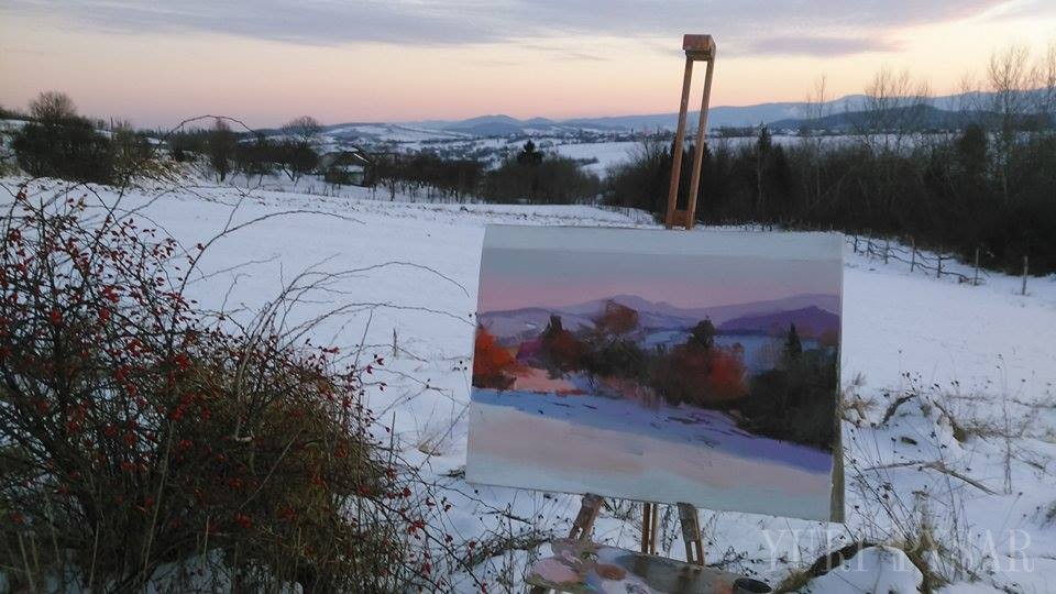 oil painting of a sunset in winter muntains is a plein air sketch