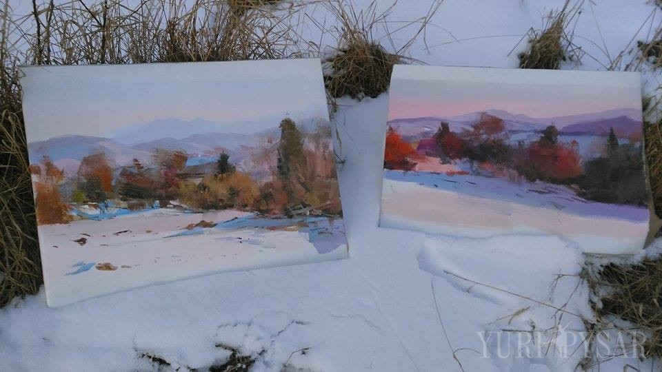 snow paintings on canvas