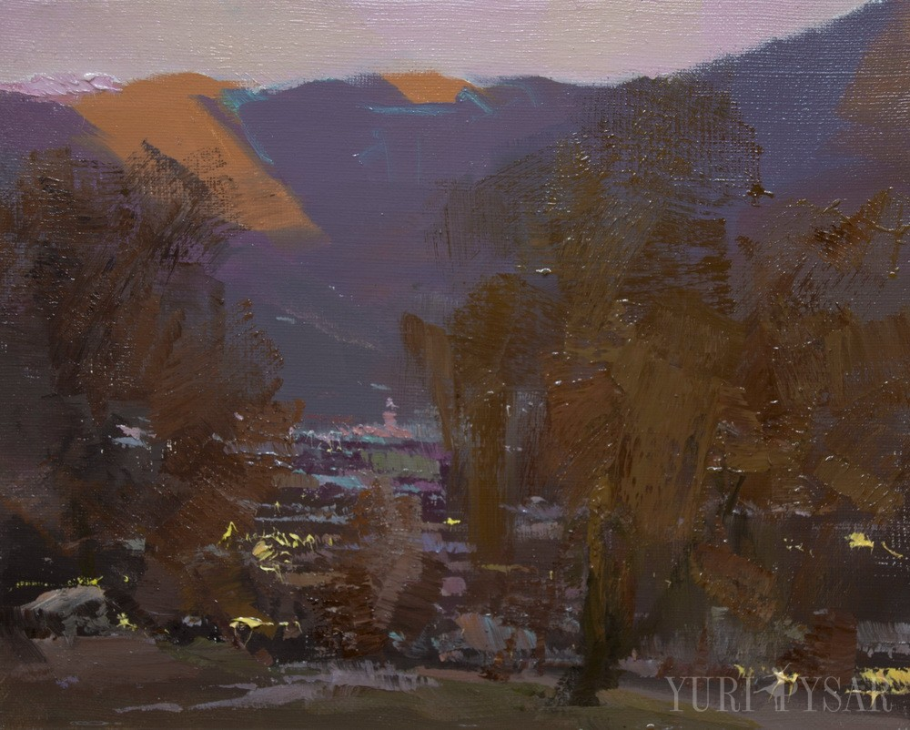 contemporary art painting on canvas of a beautiful evening landscape scene