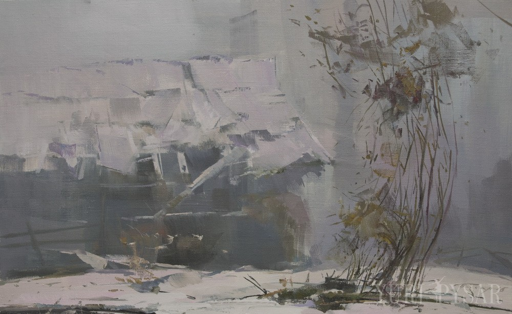 oil painting of winter landscape on a rainy day depicts the old hut