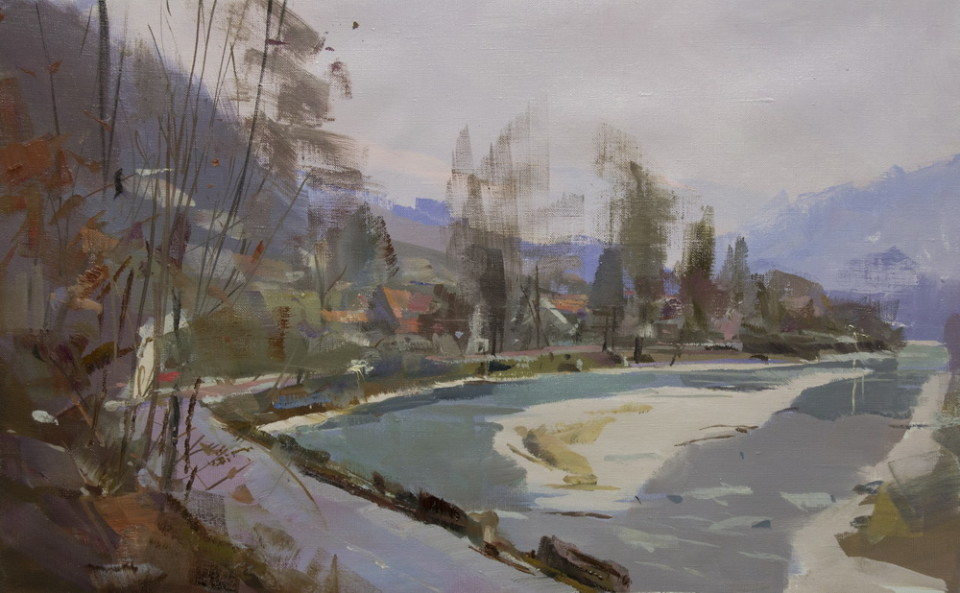 oil painting of a winter river in mountains