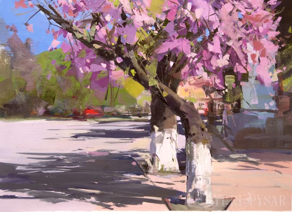 сакури в Рахові картина пейзаж з деревами