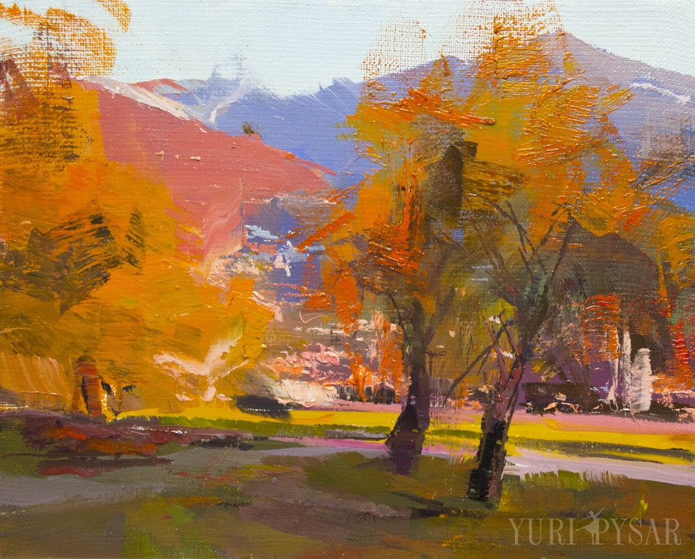 abstract painting of nature scene in golden colors, trees in orange leaves