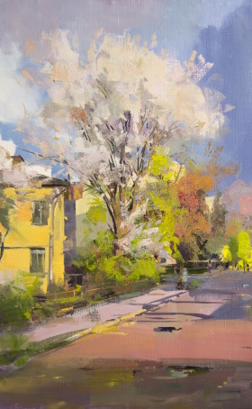 contemporary oil painting of a spring landscape