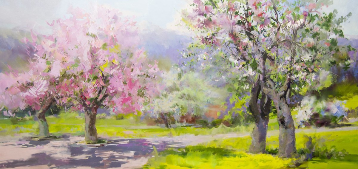 oversized painting of a spring landscape in oil on canvas by yuri pysar
