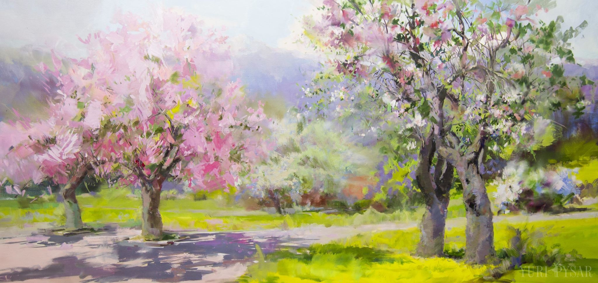 Abstract landscape paintings by yuri pysar in oil and for Spring canvas paintings