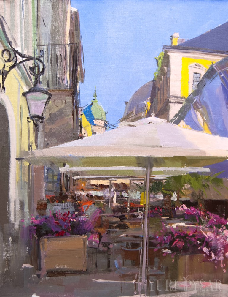 contemporary oil painting of lviv city at Alfa Jazz Fest