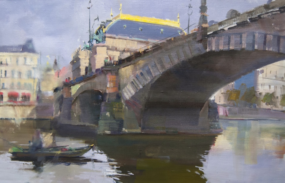 original oil painting of Prague Legion Bridge ( Most Legii ) with the view to National Theatre