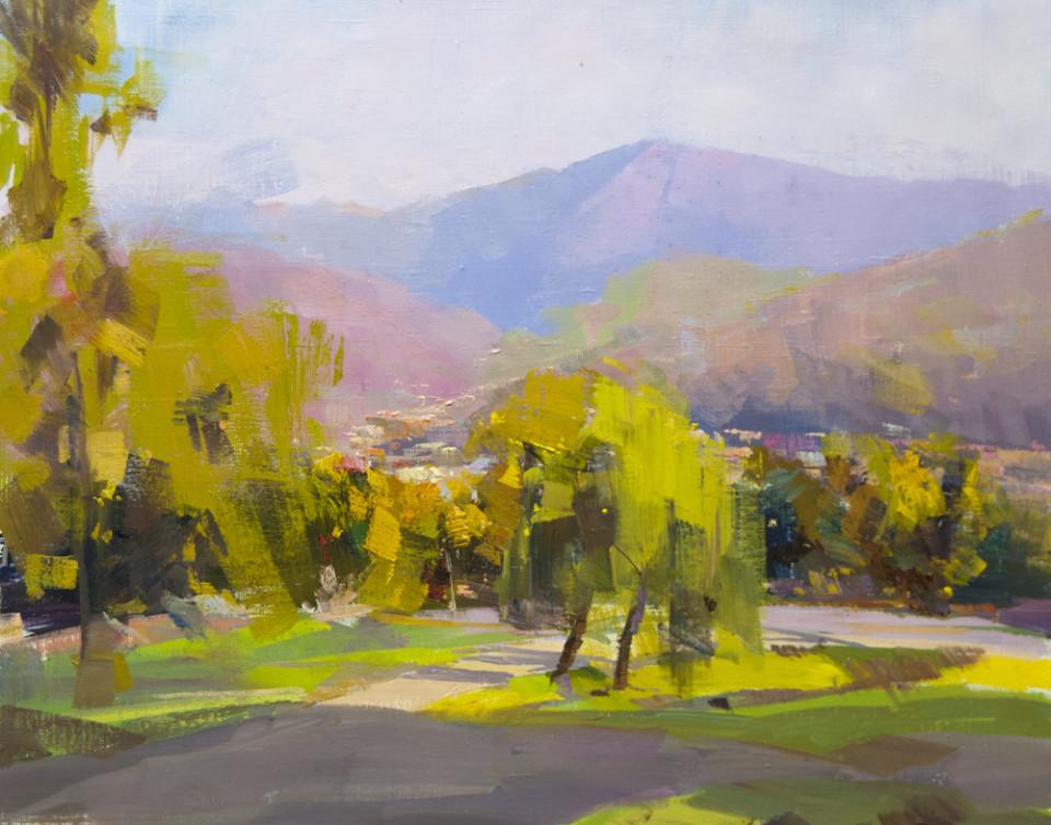 картина пейзаж маслом, місце Буркут в місті Рахові, вид на гору Менчул