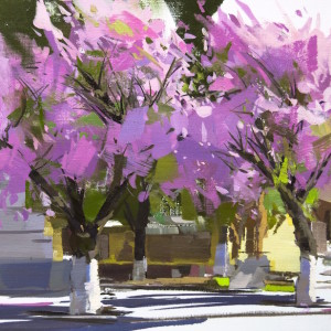 landscape oil painting of pink cherry blossom in rakhiv, sakura trees