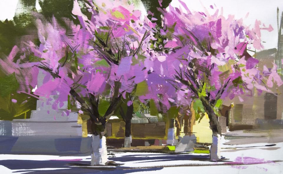 landscape oil painting of pink cherry blossom in rakhiv, sakura trees