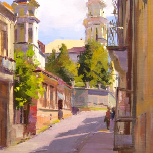 oil painting of uzhhorod city