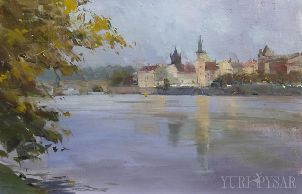 original oil painting of Prague river Vltava