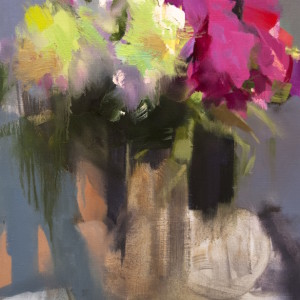 abstract still life painting of pink peonies