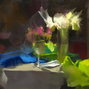 abstract flowers painting still life