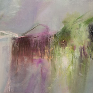 contemporary painting in lilac and green with abstract smooth brushstrokes