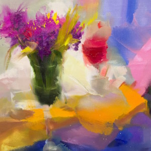 oil painting of spring flowers in a vase, contemporary still life art