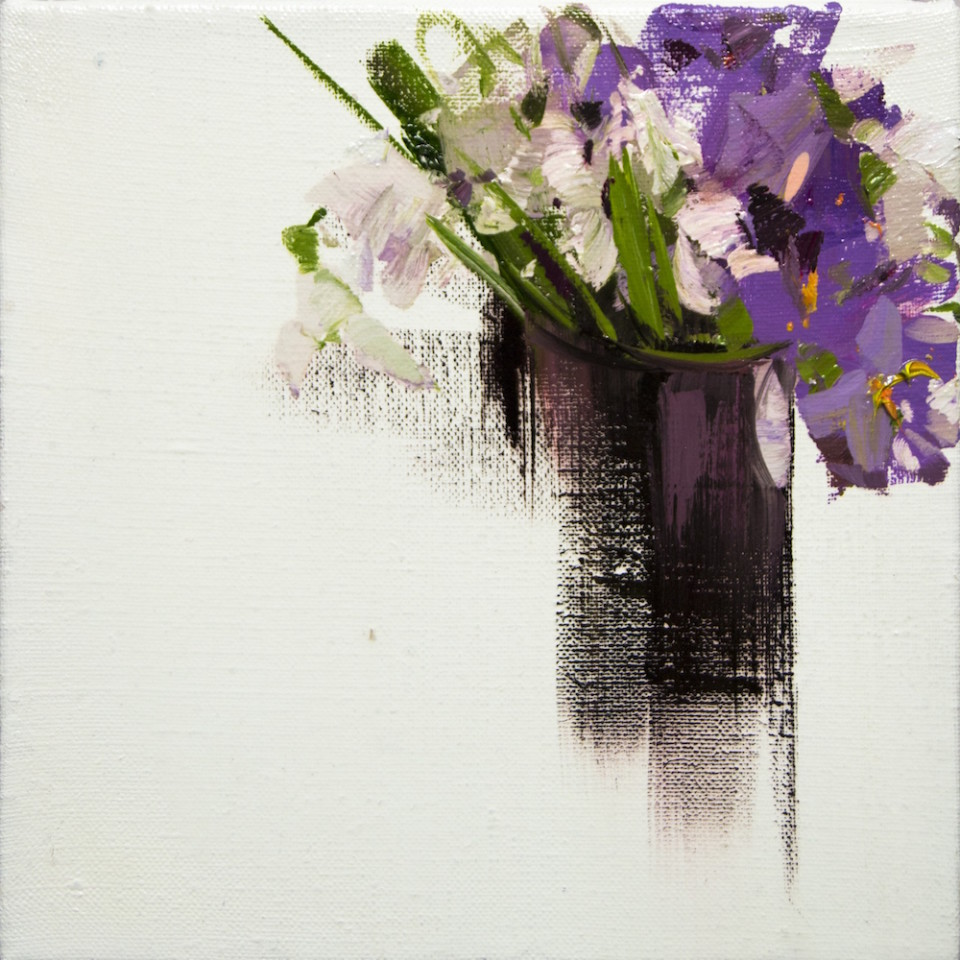 floral painting of lilac bouquet of spring flowers