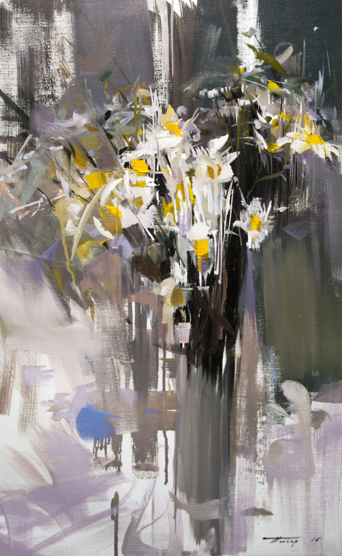 white and yellow painting, contemporary still life bouquet of daisies