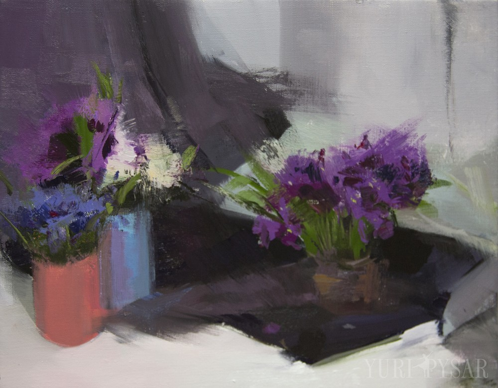 modern still life with flowers, canvas painting