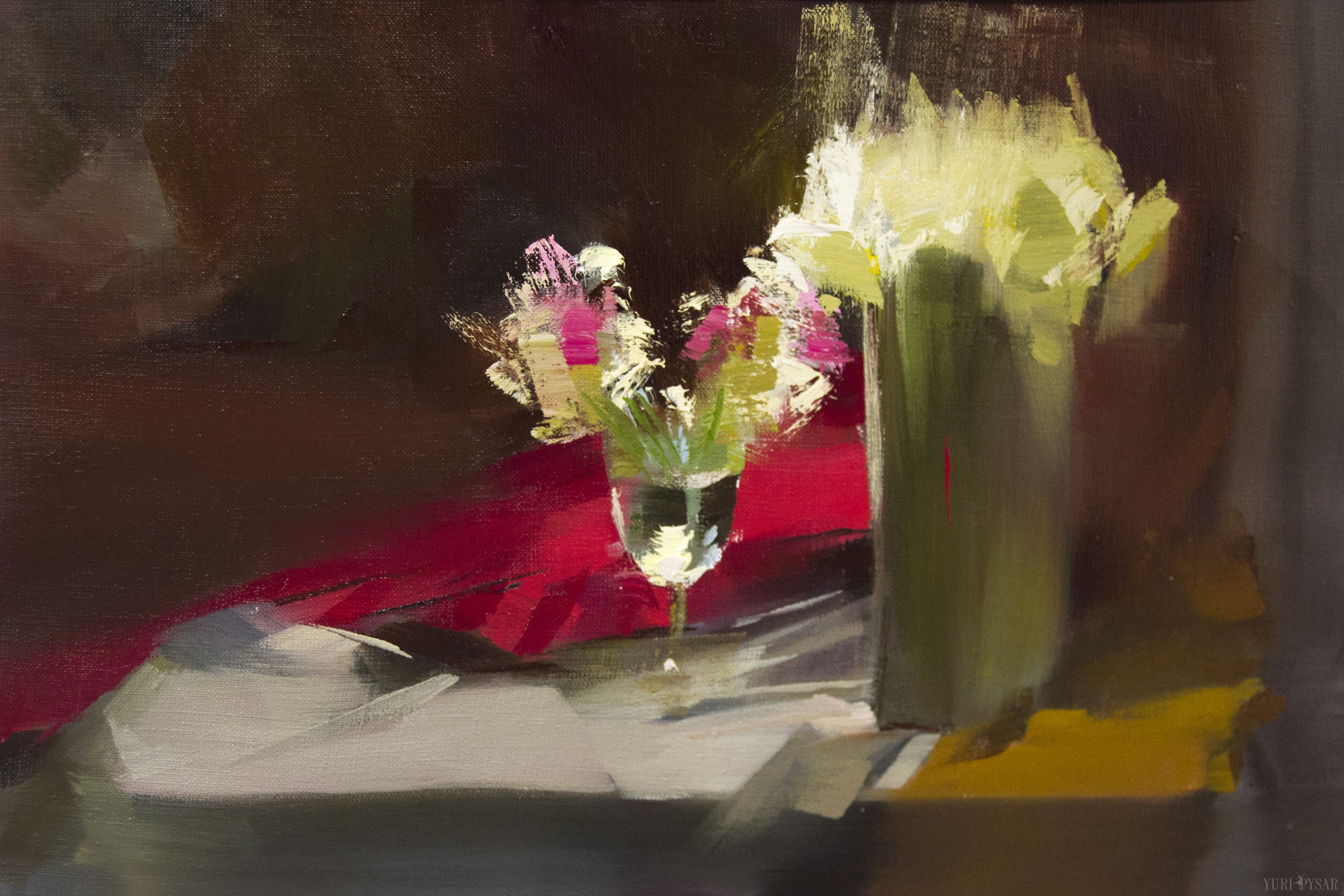 Still life paintings with beautiful flowers yuri pysar for Contemporary oil paintings