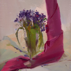 pink and lilac canvas painting of a flowers in a vase