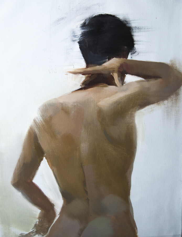 oil painting of a nude man on canvas