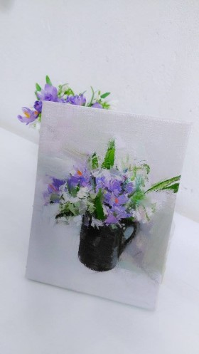 bunch of spring flowers painting, crocuses and snowdrops
