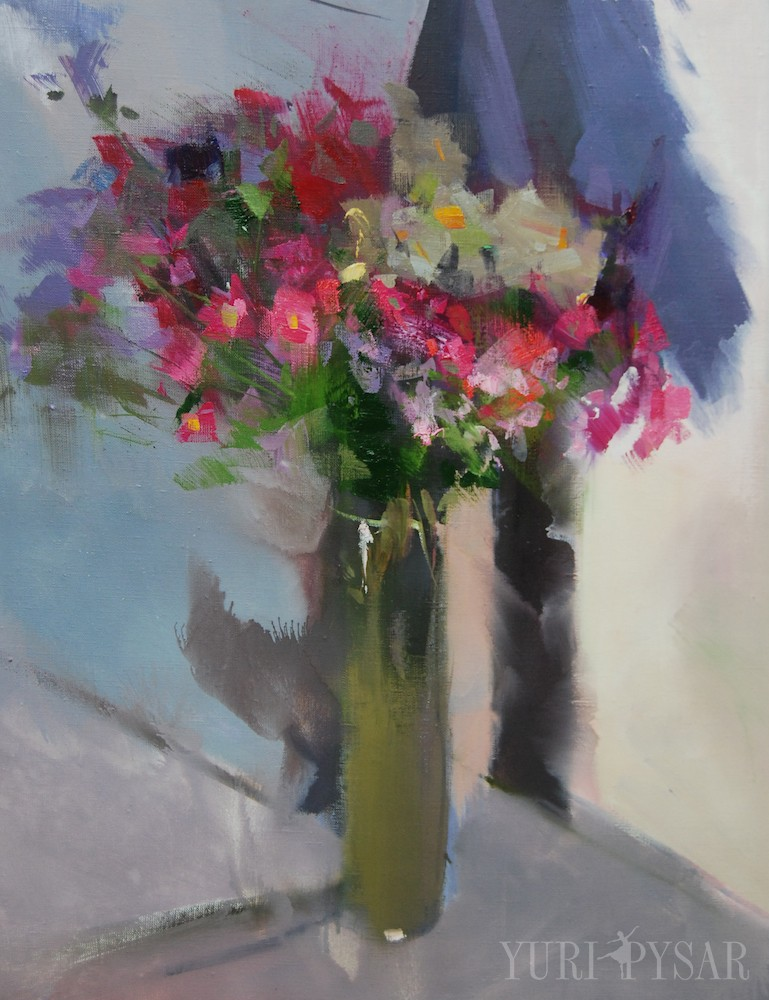 floral painting of a bouquet of autumn flowers on canvas with oil
