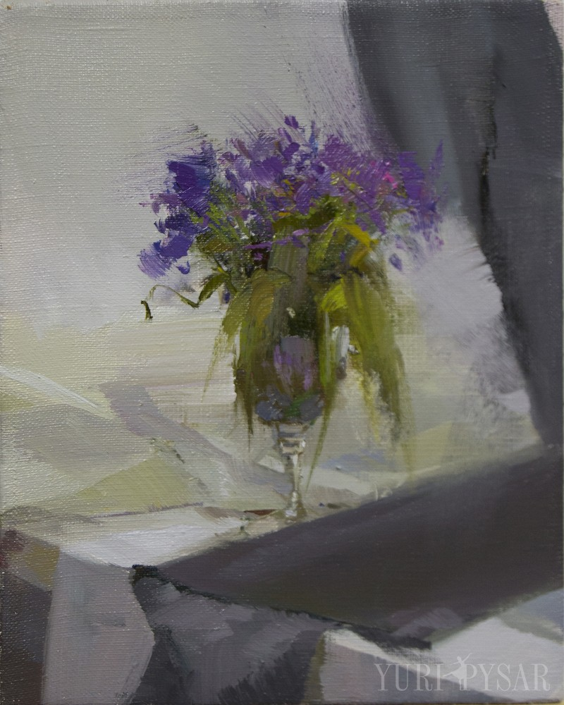 oil painting of spring colors in violet