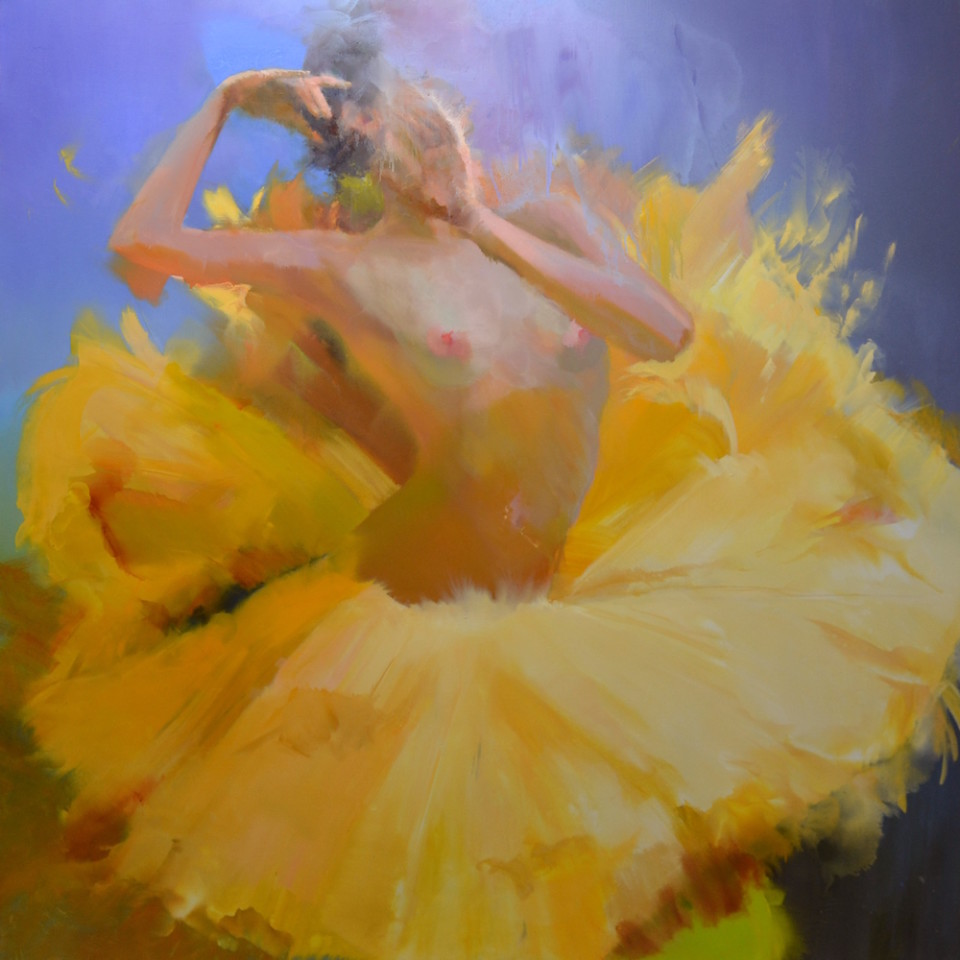 oversized painting of ballet dancer on canvas is an original contemporary art, Ballet collection 2016