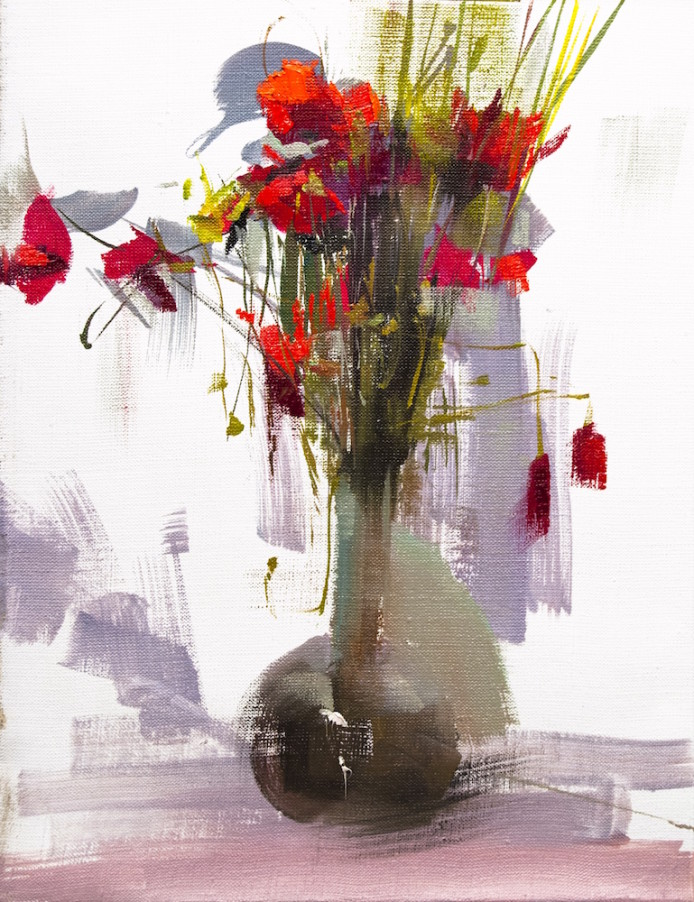original painting of bouquet of red poppy flowers in a vase