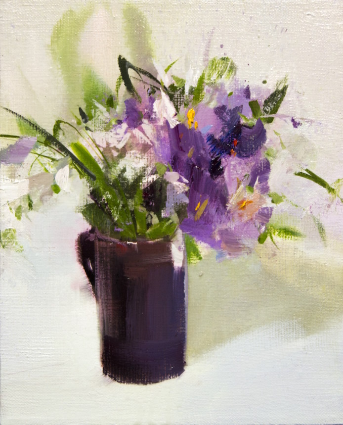 small oil painting of spring flowers on canvas