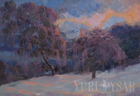 oil painting of a beautiful winter landscape with two trees in snow