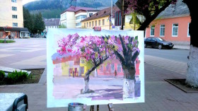 sakura tree painting on canvas depicts charming spring cherry blossom