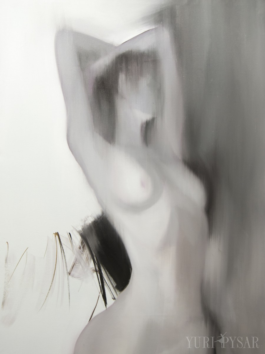 black and white oil painting of a nude figure, Akt