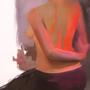 original painting of a nude female body, view from the back