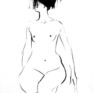 nude art, female sketch, Akt
